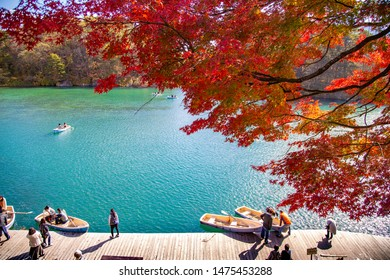 Urabandai lake, Japan : 2016 October 30. The most famous lake view in autumn. There are many peoples come to visit 5 lakes around with fall foliage scene.