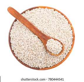 Urad Dal or Black Gram Split Pulse Unpolished Without Cover Also Know as Vigna Mungo, Black Gram, Urad Bean, Mungo Bean, Black Matpe Bean or Split Black Gram isolated on White Background