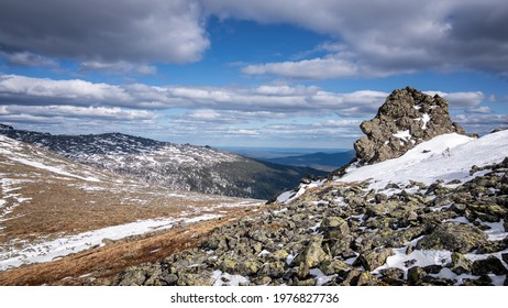 Ural mountains Konzhakovsky and Serebryansky kamen in May, Russia, Sverdlovsk region