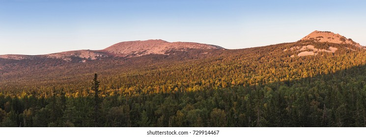 Ural mountains landscape panorama near Iremel national park