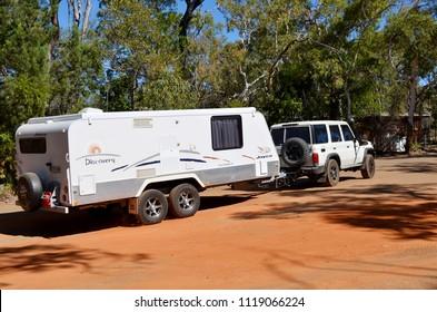 Uranda, Queensland, Australia, June 20th 2018, Four wheel drive towing large caravan