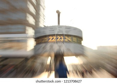 Urania world clock, Berlin, Germany. Abstract photo. Time travel