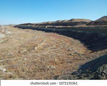 Uranium pit. Abandoned uranium quarry. Mangistau region. Kazakhstan.