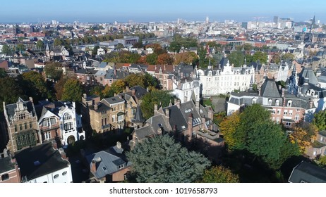Urban aerial photo Belgium Antwerp Zurenborg area in south-east Antwerp largely developed between 1894 and 1906 that features high concentration of townhouses in Art Nouveau and fin-de-siècle styles