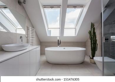 Urban apartment - white bathroom with modern bath