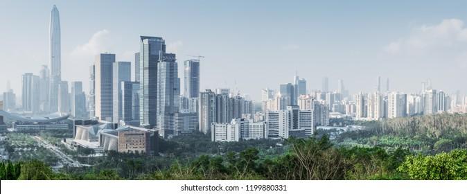 Urban architectural scenery of futian district, guangzhou, China