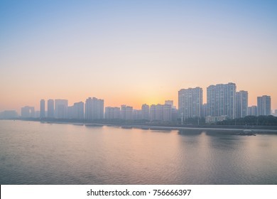 Urban architecture along the Qian Tang River in Hangzhou China