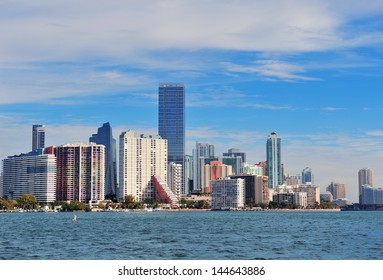 Urban architecture over sea from Miami Florida in the day.