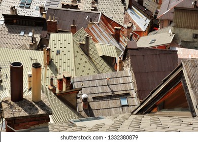 Urban architecture with roof top  in the Old Town of Briancon, the highest town in France  (Provence ).