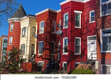 Urban architecture suburban Washington DC, USA. Row houses in downtown Shaw neighborhood.