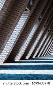 urban architecture tunnel , triangle shape   corridor -
