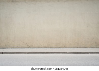 Urban background. Empty street wall and pavement  - Shutterstock ID 281334248