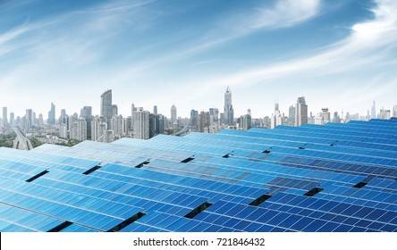Urban background solar panels, Shanghai, China.