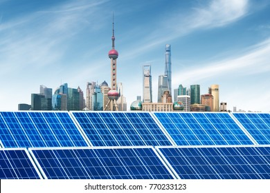 Urban background solar panels, Shanghai, China.