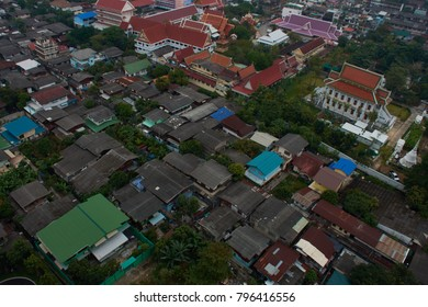 Urban Bangkok view, Cityscape with temple, colorful roof