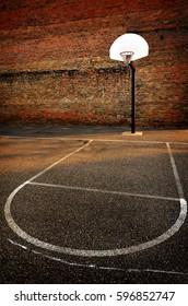 Urban basketball outdoors street ball in the hood