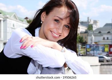 urban beautiful young woman