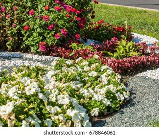 Urban beds. Landscape design in urban flowerbeds. Practical, aesthetic, gardening, as well as components of environmental sustainability including landscape design deserves.