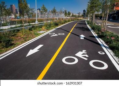 Urban bike lane in a New York City park