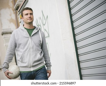 urban boy street soccer player