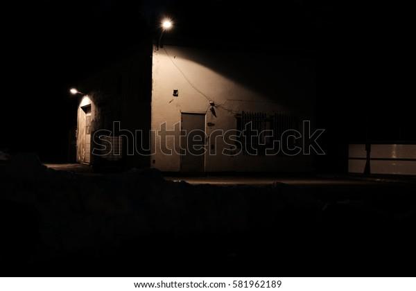 Urban building at night
