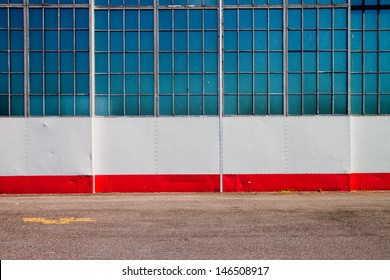 Urban Building Wall Texture of Airplane Hanger with Pavement, Wall and Windows