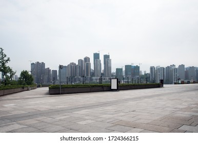 Urban buildings and wide ground squares in Chongqing, China