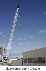 Urban City Construction With A Tall Tower Crane, Sydney, Australia