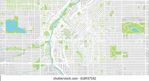 urban city map of denver usa