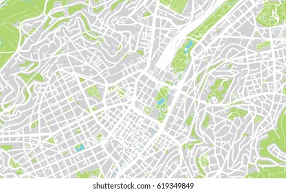 Urban city map of Stuttgart, Germany