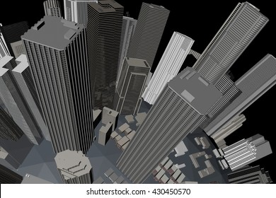 Urban City in Motion. Nice 3D Rendering