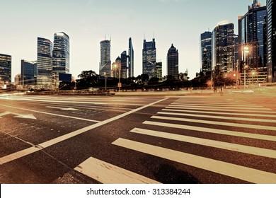Urban city at night with traffic and night skyline