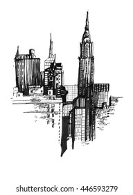 Urban city scape sketch