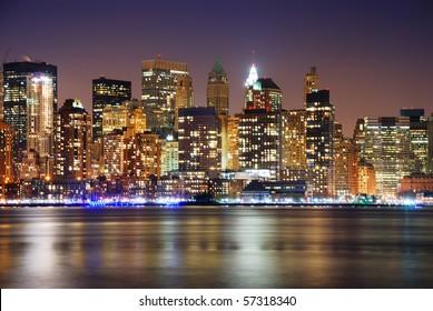 Urban City skyline night scene, New York City Manhattan skyline at night