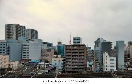 Urban City of Tokyo on a cloudy day in Japan 2018.