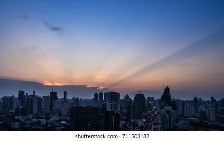urban cityscape in twilight time and sunset light - can use to display or montage on product