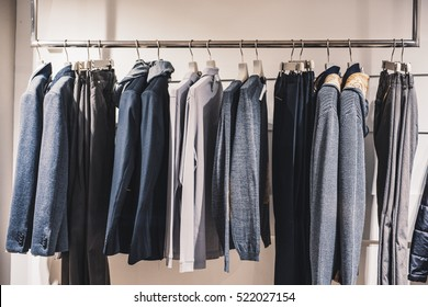 Urban clothing on hangers