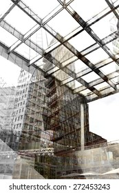 Urban conceptual grey monochrome blurred pattern with construction and buildings. Collage, Double Exposure effect