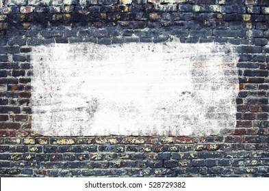 Urban Concrete Brick Wall With Painted Blank Banner Background. Graffiti Brick wall Texture With Empty Surface For Text Or Image. Outdoor Graffiti Building Wall With Copy Space