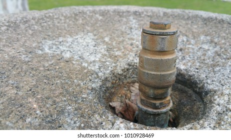Urban concrete water fountain -detail