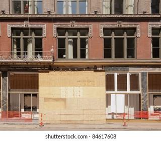 Urban construction site renovating old brick building