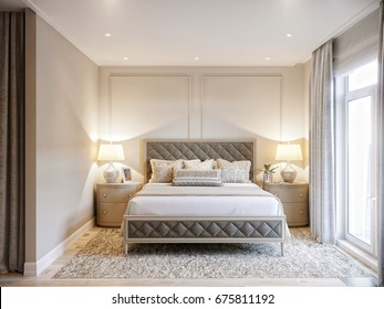 Urban Contemporary Modern Classic Traditional Hotel Bedroom Interior Design with beige walls, Elegant furniture and bed linen. 3d rendering