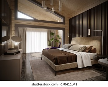 Urban Contemporary Modern Classic Traditional Hotel Bedroom Interior Design in wooden house with blockhouse walls, Elegant furniture and bed linen. 3d rendering