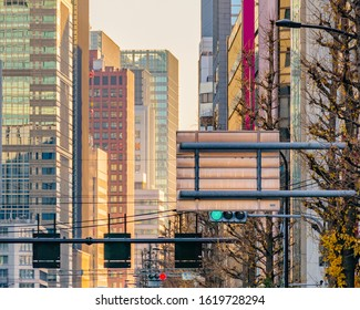 Urban day scene with modern skyscprapers buildings at shibuya district, tokyo, japan