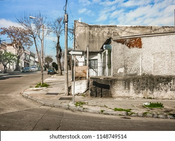 Urban day scene at neglected neighborhood at montevideo city, Uruguay