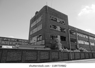 Urban decay. Monochrome photographs of abandoned properties in a state of disrepair in Stoke on Trent Staffordshire, England.