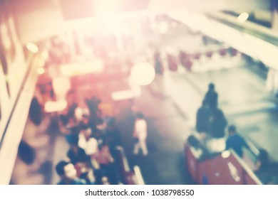 Urban Defocused View Crowd People Going Through Metro Station in Bangkok City Toned Photo Blurred Background