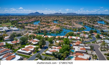 Urban desert North Scottsdale neighborhood during the Spring.