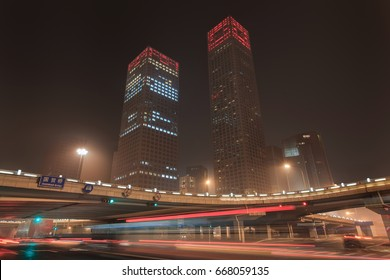 Urban dynamism in Beijing Central Business District at nighttime, China