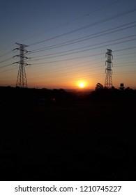 Urban eletricity sunset